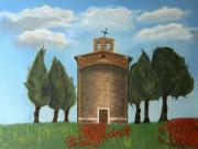 Poppies Field Pastels - Tuscan Church by Christiane Schulze