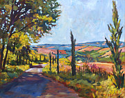 Pastoral Framed Prints - Tuscan Country Road Framed Print by  David Lloyd Glover
