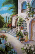 Italian Villas Paintings - Tuscan Courtyard by Melinda Saminski