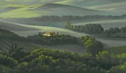 Tuscan Hills Painting Framed Prints - Tuscan Daybreak Framed Print by Michael Swanson