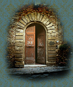 Wall Paper Posters - Tuscan Door Poster by Karen Lewis