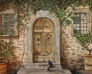 Radda In Chianti Painting Framed Prints - Tuscan Door Framed Print by Lizbeth Gage