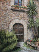 Landscapes Of Tuscany Paintings - Tuscan Doorway La Parrina by Melinda Saminski