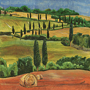 Hills Painting Prints - Tuscan Dream 1 Print by Debbie DeWitt