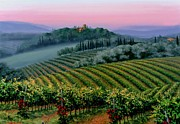 Tuscan Hills Painting Framed Prints - Tuscan dusk Framed Print by Michael Swanson