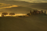 Morning Mist Prints - Tuscan Farmhouse Print by Andrew Soundarajan