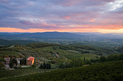 Tuscan Dusk Prints - Tuscan farmhouse landscape in evening light Print by Peter Noyce
