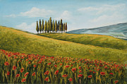 Italian Landscapes Paintings - Tuscan Field With Poppies by Melinda Saminski