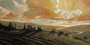 Tuscany Vineyard Oil Paintings - Tuscan Glow II by Christopher Clark