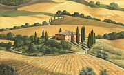 Tuscan Hills Painting Framed Prints - Tuscan Gold  Framed Print by Michael Swanson