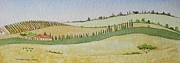 Italian Villas Paintings - Tuscan Hillside Four by Mary Ellen  Mueller-Legault
