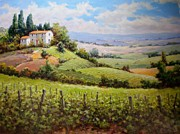 Grapevines Paintings - Tuscan Hilltop Villa by David Kim