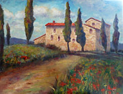 Villa Paintings - Tuscan Home by Carolyn Jarvis