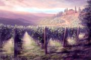 Tuscan Sunset Painting Prints - Tuscan Landscape Print by Georgann Micono