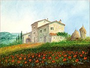 Sicily Paintings - Tuscan landscape by Luciano torsi