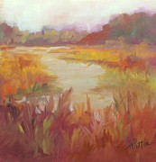 Stream Pastels Posters - Tuscan Marsh Poster by Karen Ann Patton