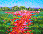 Landscapes Of Tuscany Paintings - Tuscan Poppy Carpet by Susi Franco