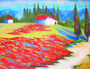 Landscapes Of Tuscany Paintings - Tuscan Poppy Cottage by Susi Franco