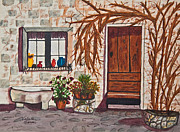 Italian Pottery Prints - Tuscan Portal Watercolor Print by Valerie Garner