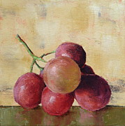 Wine Glass Paintings - Tuscan Red Globe Grapes by Pam Talley