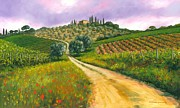 Chianti Vines Painting Framed Prints - Tuscan road Framed Print by Michael Swanson