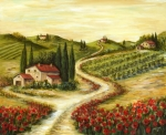 Mediterranean Landscape Painting Posters - Tuscan road With Poppies Poster by Marilyn Dunlap