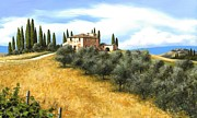Tuscan Hills Painting Framed Prints - Tuscan Sentinels Framed Print by Michael Swanson