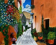 Hanging Baskets Paintings - Tuscan Street Scene by Bev Conover