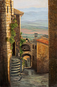 Tuscan Hills Paintings - Tuscan streets by Kellie Marshall