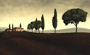 Tuscan Sunset Painting Metal Prints - Tuscan Style  Metal Print by Michael Swanson