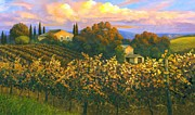 Grapevine Autumn Leaf Painting Framed Prints - Tuscan Sunset 36 x 60 Framed Print by Michael Swanson