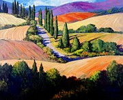 Tuscan Hills Painting Framed Prints - Tuscan Trail Framed Print by Michael Swanson