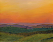 Italian Sunset Painting Posters - Tuscan Twilight 1 Poster by Cecilia  Brendel