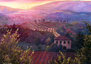 Tuscan Sunset Painting Prints - Tuscan Valley Sunset Print by Theresa Evans