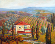 Tuscan Hills Framed Prints - Tuscan View Framed Print by Carolyn Jarvis