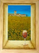 Italian Wine Painting Metal Prints - Tuscan View Metal Print by Pamela Allegretto