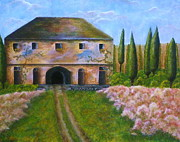 Tuscan Hills Paintings - Tuscan Villa by Tamyra Crossley