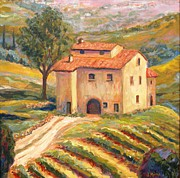 Villa Paintings - Tuscan Villa Vineyard by Joanne Morris