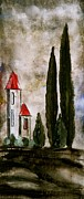 Tuscan Hills Digital Art - Tuscan Village Landscape Fine Art Print by Laura  Carter
