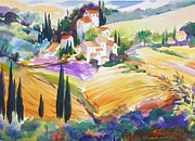 Italian Villas Paintings - Tuscan Villas and Fields by Therese Fowler-Bailey