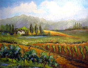 Tuscany Vineyard Oil Paintings - Tuscan Vineyard by Alexandra Kopp
