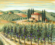 Wine Scene Framed Prints - Tuscan Vineyard and Villa Framed Print by Marilyn Dunlap