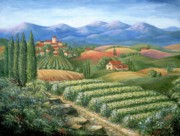 Wine Country Painting Posters - Tuscan Vineyard and Village  Poster by Marilyn Dunlap