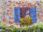 Old Door Painting Framed Prints - Tuscan Window Framed Print by Mohamed Hirji