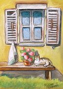 Villa Pastels - Tuscan Window with Cat by Melinda Saminski