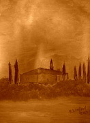 Italian Villas Paintings - Tuscany 11 by Richard W Linford