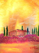 Italian Villas Paintings - Tuscany 12 by Richard W Linford