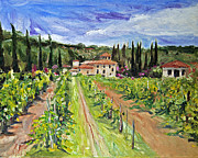 Tuscany Vineyard Oil Paintings - Tuscany Afternoon by Jennifer Beaudet