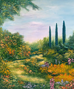 Pine Trees Paintings - Tuscany Atmosphere by Hannibal Mane