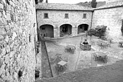 Black And White Art - Tuscany Courtyard by Adrian Alford